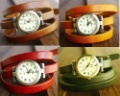 Vintage Style Bronze Lady Leather Wrap Around Watch 5 colors to pick from . 10pcs/lot