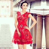 Urged bride wedding formal dress short design red cheongsam improved cheongsam 2012 new arrival cheongsam 852