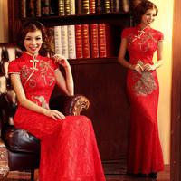 Urged bride 2012 bride cheongsam evening dress fashion vintage long design married cheongsam 257