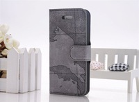 New Arrival World Map pattern  PU Leather Case Cover for Iphone 5