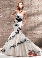 CJM-10026 Designer Mermaid Organza Ivory and Black Lace 2013 Wedding Dress