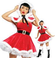 Free Shipping Sexy Christmas Costume  Santa Costume Women Sexy Christmas Costumes Cosplay dress
