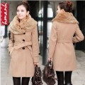 2012 winter female elegant large fur collar single breasted slim wool coat thick outerwear
