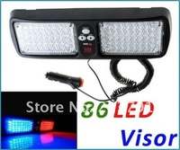 Super Bright 86 LED Car Truck Visor Strobe Flash Light Panel, warning lighting,4 colors choice,free shipping