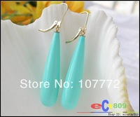 30mm drip turquoise SEA SHELL PEARL dangle earrinG 14k   free+ shippment