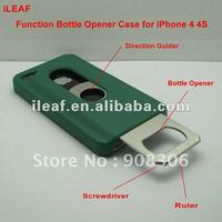 4 functions Bottle Opener Case for iPhone 4S Hard Shell Case Slide Out Bottle Opener Screwdriver Ruler Direction Guider
