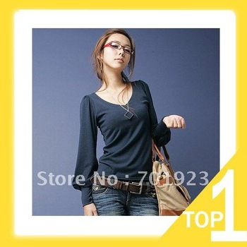 autumn and winter NEW HOT Fashion trendy Cozy women ladies Noble clothes Tops Tees Long-sleeved Lantern Sleeve T-shirt Y2520