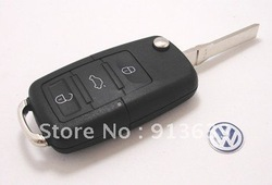 In stock Folding Car Remote Flip Key Shell Case For Vw Golf Passat Polo Bora 3 Buttons(China (Mainland))