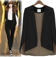 2012 fashion star style personality cape sleeveless slim blazer black beige