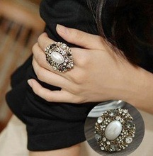 Fashion Hot Sale New Arrival Amazing Retro Simulated Pearl Shiny Rhinestone Ring R48