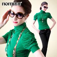 Free shipping Autumn basic shirt gauze rhinestones turtleneck short-sleeve women's t-shirt Women basic shirt