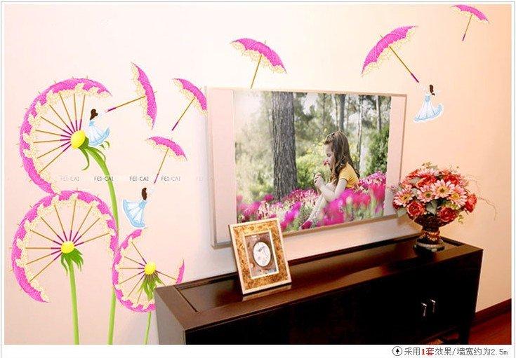 Removable Dandelion Home Garden Decoration cheap living room wall sticker ...