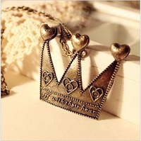 Vintage Bronze Long Sweater Pendant Crown Necklace 2pcs/Lot Z-A2021A Free shipping
