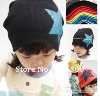 free shipping Design Baby cap Fashion Star hat cotton hat boys & girls skull cap Beanie hat
