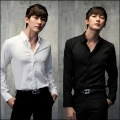 Uyuk front fly crew neck long-sleeve shirt slim solid color casual male long-sleeve shirt FREE SHIP