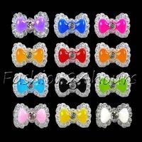 New 100pcs Mixed Colors Acrylic Nail Decoration Cute Bowknot Bow Tie 3D Nail Art Tips Nail Decoration Free Shipping