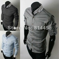 Free Shipping 2012 SPRING NEW STYLE TOP MEN BEST CHOICE HIGH QUALITY SLIM Long-Sleeved 100% COTTON SHIRTS 3 OF COLORS ML XL XXL