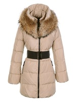 2012 Winter New Fashion Ladies Long Down Coat Natural Fox Fur Super Big Collar Brand Feather Jacket Waterproof Slim Warm Clothes