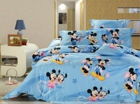 New Beautiful 4PC 100% Cotton Comforter Duvet Doona Cover Sets FULL / QUEEN / KING SIZE bedding set 4pc blue Happy Mickey Mouse