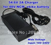 Free shipping 54.6V 2A charger for 48V NCM Lithium Li-ion battery pack of ebike wheelchair with wide voltage input 100~240V