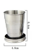 Free shipping Hiqh quality six-fold stainless steel cup outdoor camping cup 60 ml folding cup D571