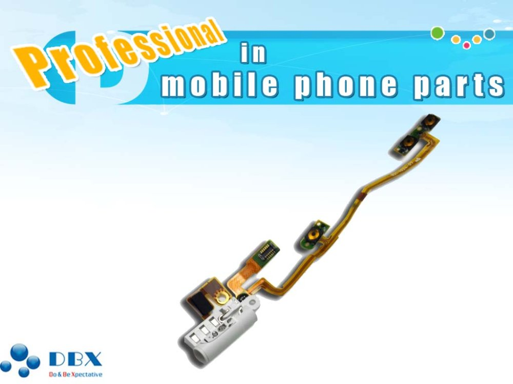 White Headphone Audio Jack Power on/off Volume Button Key Flex Ribbon Cable for iPod Nano 6th Gen 8GB 16GB(China (Mainland))