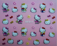 Min Order $20 (mixed order) Retail 3D nail sticker Hello Kitty designs Nail Glitter Stickers  (SX-191)