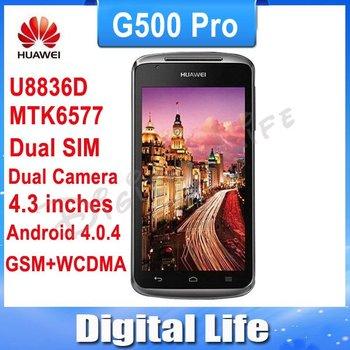 "Original Unlocked Huawei U8836D G500 Pro Mobile Phone 3G 4.3"" ICS MTK6577 Android 4.0 DualCore Multi-language Russian menu"
