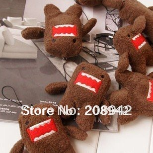 Cute Domo Kun Plush Doll Toy kids phone keychain Free shipping Best selling! 10 pcs/lot(China (Mainland))