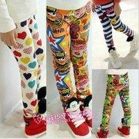 KZ-510,5 pcs/lot 2012 new winter baby  thick cotton tights pants graffiti style girl's leggings cartoon striped kids trouser