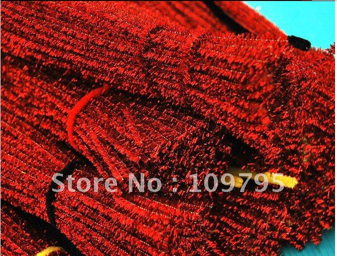 "0.5cm x 11.8""(30cm) red glitter chenille stems crafts diy baby favor free shipping by china post air mail(China (Mainland))"