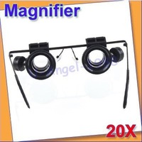 Free shipping !!2x Glasses Type 20X Watch Repair Magnifier with LED Light