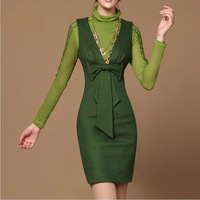 high quality autumn/winter V-neck ribbon bow tank woolen dresses fashion women dresses green/wine red/orange S~XL free shipping