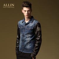 Allin men's clothing autumn new arrival slim male turn-down collar jacket patchwork denim outerwear wt5118