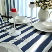 Free Shipping Marine Style Dining Fabric Exotic Feeling Blue and White Stripe 130 * 180cm
