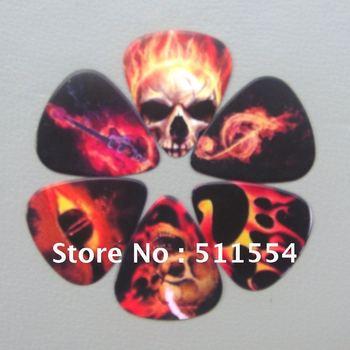 Free Shipping 200pcs/lot Mixed Custom Skull Colorful Printed Guitar Picks Hot Sale !