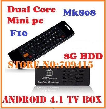10pcs=5pcs F10+5pcs MK808 Android 4.1 TV Box RK3066 1.6GHz Cortex-A9 dual core RAM 1GB/8G HDD + Mele F10 Wireless keyboard Mouse