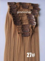 """clip in synthetic hair,clip in hair ,synthetic hair extension,synthetic hair,color 27#,22"""",130grams,5sets/lot"""