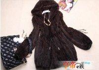 2014 Ladies' Fashion Real Knitted Mink Fur Coat Jacket with Hoody Winter Women Fur Outerwear Coats Slim Belt VK0307