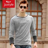 Vintage fashion two-color male o-neck raglan sleeve long-sleeve print t-shirt,5 pieces/lot,free ship