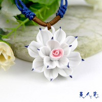 Sweets porcelain handmade ceramic jewelry blue and white porcelain necklace porcelain flowers three-color flower pin