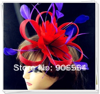 Free shipping red fascinators with purple feather decoration,high quality sinamay fascinator hats ,great cocktail hats,MSF125