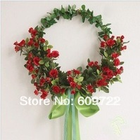 2014 Artificial Silk Flower Red  Garland Wall Oval Shape Rose  Ornament Door Garland in Wedding Decoration FL155-2 DIY