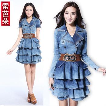New arrival Women's autumn vintage jean dress, skirt turn-down collar skirt long-sleeve denim fashion one-piece dress