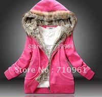 2014 Regular Sale Moleton Feminino Tracksuits Sweatshirt Thick Women's Hooded Sweater Jacket Coat 3 Colors Red, Yellow, Size