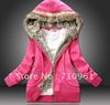 2012 thick women's hooded sweater Jacket Coat 3 colors red, yellow, blue size M L XL
