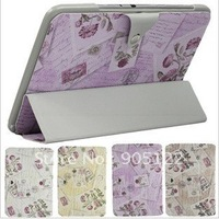 Free shipping.Flower stand PU leather case cover pouch for SAMSUNG GALAXY NOTE 10.1 N8000/N8010,Wholesale