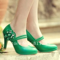 HOT Selling  Fashion strap flower sweet shallow mouth shoes  platform high-heeled shoes female pumps  Free shipping