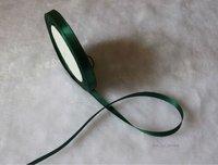 "wholesale-free shipping 1/4"" 6mm 25yds/pcs   Wedding Party Craft  Satin Ribbon  Dark Green"
