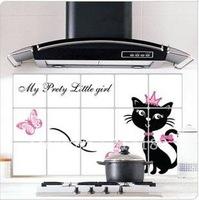 Wall sticker Black cat 45cmX75cm Kitchen sticker Waterproof oil free shipping